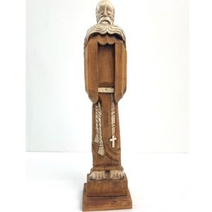 Peaceful Monk Wood Sculpture 12.5""